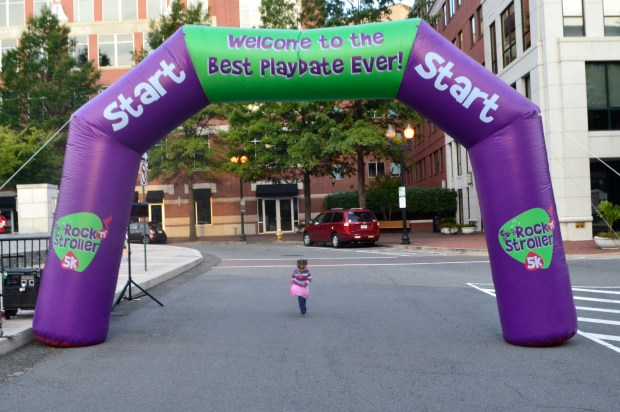 Jasmine crossing the finish line ... before the race even started.