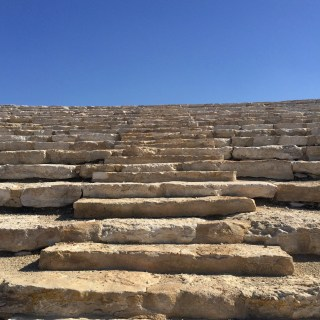 Stone steps at an outdoor amphitheater near kibbutz Be'eri