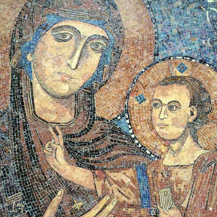 Mosaic tiles in the Church of the Visitation, Ein Karem, Jerusalem