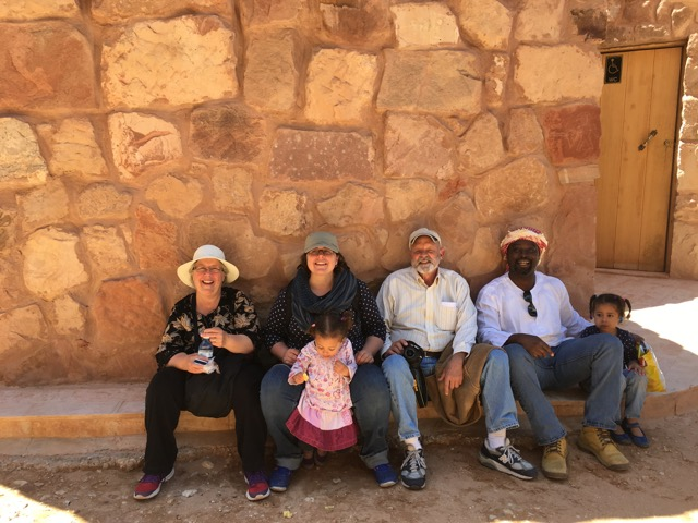 Travel with kids - Taking a short break after the exhausting descent in Petra