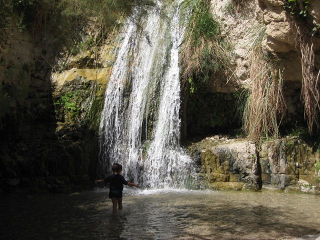 Travel with Kids - Playing in the water at Ein Gedi