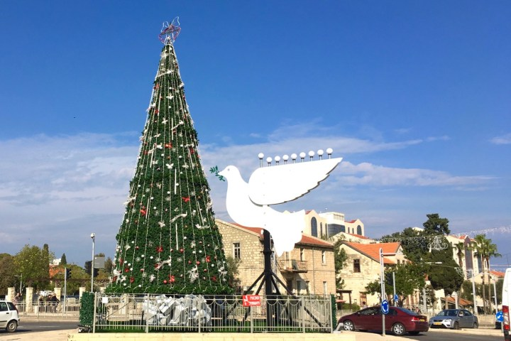 Christmas Tree and Menorah in Haifa, Israel