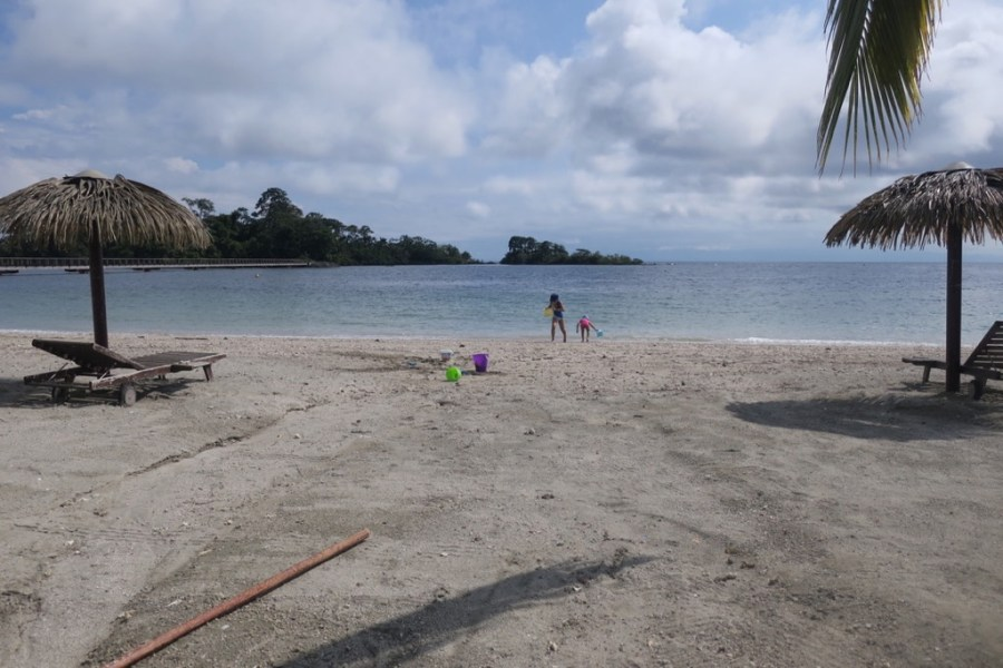 Kids playing on the beach at Island at Island at Sofitel, Sipopo Beach, Bioko Island, Equatorial Guinea