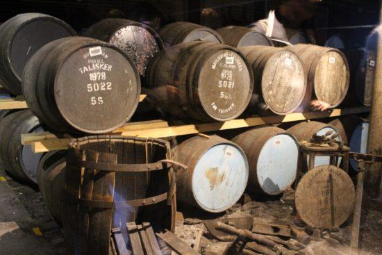 Touring Talisker barrels of whisky.