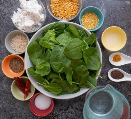 Ingredients for Keerai Molagootal recipe