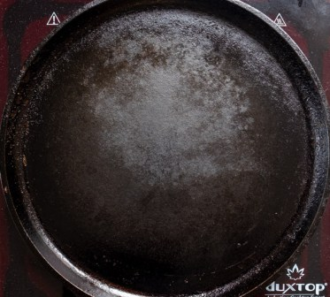 Cast Iron Griddle on heat for Chia Chapati