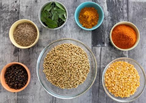 Overhead shot of Ingredients for making Rasam Powder