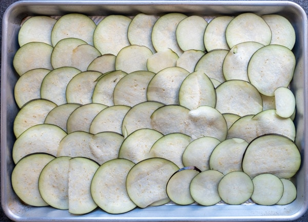 Overhead shot of sliced eggplant and onions