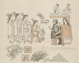 Illustration of the first meeting between Cortés and Montezuma