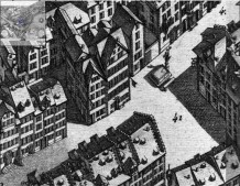 Franz Xaver Schumacher Pictorial Map of Lucerne, 1792 Detail of engraving showing the Rossligasse and part of the Hirschenplatz. This edition of the map was published in 1792, but it appears to show the Goldener Adler building before its remodelling in 1786. It looks very much as if the 'Diving Dolphins' carving originally formed part of the doorway. A fully-zoomable version of the map can be viewed on the website of the Staatsarchiv of Lucerne. Click on the following link and use your browser's 'back' button to return to this page: http://www.staatsarchiv.lu.ch/stadtansicht_schumacher.htm
