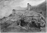 John Ruskin Bellinzona: The Castel Grande from Daro, 1858 Watercolour 5¾ x 8¼ ins , 146 x 210 mm Present collection unknown. Image scanned from the Library Edition of The Works of John Ruskin (1903-12) Vol.7, pl.C. Please contact me if you know the current whereabouts