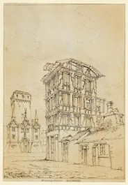 John Ruskin Old House in the Kasernenplatz, Lucerne, with the Baslertor (demolished 1862) to the left. Called 'Ancienne Maison, Lucerne', 1835 Pen and ink with white on paper, 264 x 183mm, 10 3/8 x 7 3/16in. Sheffield Galleries & Museums Trust, Collection of the Guild of St George Photo courtesy of Sheffield Galleries & Museums Trust