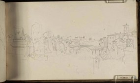 J.M.W.Turner View of the River Tiber with the Ponte Cestio and Ponte Rotto, Rome, 1819 From the Albano, Nemi, Rome sketchbook, TB CLXXXI 41 Page size, 113 x 189 mm Photo courtesy of Tate Click on the image to enlarge To see the image in the Tate's online catalogue of the Turner Bequest, click on the following link, and press your browser's 'back' button to return to this page: http://www.tate.org.uk/art/artworks/turner-view-of-the-river-tiber-with-the-ponte-cestio-and-ponte-rotto-rome-d15372