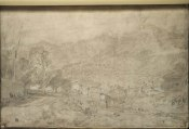 Sallanches and the River Arve, from the St Martin Road, 1802 Pencil and watercolour on paper prepared with a grey wash, 315 x 473 mm From the St Gothard and Mont Blanc sketchbook, Turner Bequest LXXV 12 Tate Britain, London Photo courtesy of Tate. To see this image in the Tate's own online catalogue of the Turner Bequest click on the following link, then use your browser's 'back' button to return to this page: http://www.tate.org.uk/art/artworks/turner-sallanches-and-the-river-arve-from-the-st-martin-road-d04604 Turner used this sketch as the basis of a finished watercolour in a private collection.