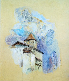 John Ruskin (1919-1900) The Chateau des Rubins, Sallanches, with the Aiguille de Varan beyond, 1860 Pencil and watercolour on paper, originally blue, 8 1/2 x 7 5/8 ins, 217 x 194 mm Private Collection, sold Sotheby's, London, 5 June 2008 no.243 Photograph courtesy of Agnew's (2003) The watercolour has recently been on the London art market with Stephen Ongpin Fine Art. To see the catalogue entry on their website click on the following link, and use your browser's 'back' button to return to this site. http://www.stephenongpin.com/John-Ruskin-1819-1900-The-Chateau-des-Rubins-Sallanches-with-the-Aiguille-des-Varens-Beyond-DesktopDefault.aspx?tabid=6&tabindex=5&objectid=620029&categoryid=15062
