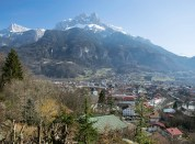 Sallanches: The Church of St Jacques and the Aiguille de Varan. Taken from the Chapel of the Immaculate Conception. The exact viewpoint of Turner's sketch TB CCCXLII 76 is now occupied by a private dwelling. Photograph by David Hill taken 10 March 2015, 10.33 GMT