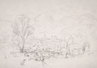 J.M.W.Turner Sallanches, near Chamonix, from St Martin, 1836 Pencil on paper, 9 x 12 5/8 in, 230 x 322 mm The Fitzwilliam Museum, Cambridge , no.156 Showing the view from St Martin, looking over the bridge to Sallanches. It is of a strikingly different character to the run of sketches discussed in the main text of this article. Here Turner is in much less sublime mode, and populates his foreground with many entertaining and picturesque figures and details. The spirit seems much more in tune with say the sentiment of illustrations for the popular landscape 'Annuals' of the 1830s, and the subject may have been developed in some measure for the benefit and instruction of Turner's travelling companion, H.A.J.Munro of Novar. This and the previous sketch was owned by John Ruskin. He made his penultimate visit to Sallanches and St Martin in 1882 and on that occasion he mulled over the prospect of buying the then derelict Hotel du Mont Blanc at St Martin. He took the fact of the drawings coming into his hands as a sign. Image courtesy of the Fitzwilliam Museum. To see the image in the Fitzwilliam's own online catalogue click on the following link, then press your browser's 'back' button to return to this page. http://www.fitzmuseum.cam.ac.uk/support/friends/opac/cataloguedetail.html?&priref=13978&_function_=xslt&_limit_=10