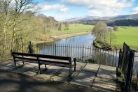"""Church Brow, Kirkby Lonsdale: Site of Benches Photograph by David Hill, taken 25 March 2016, 11.09 GMT """"..Just at the dividing of the two paths, the improving mob of Kirkby had got two seats put for themselves—to admire the prospect from, forsooth...."""" Ruskin's original benches have been removed and replaced."""