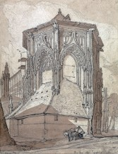 """John Sell Cotman (1782-1842) East End of the Church of St Jacques at Dieppe, 1819 Graphite and brown wash on moderately thick, slightly textured, cream wove paper, 11 5/8 × 8 7/8 ins, 295 × 225 mm Inscribed in graphite, lower right: """"East End of St. Jacques at Dieppe."""", Collector's mark: RIBA blind embossed stamp, Signed and dated in graphite, lower left: """"J. S. Cotman 1819."""" USA, New Haven, Yale Center for British Art, Paul Mellon Collection, B1975.2.563 Cotman sketched this subject on 23 June 1817. His original sketch is lost, and this is a studio work typical of the monochrome drawings that he made as the basis of his etchings for the 'Architectural Antiquities of Normandy', published in 1822. Photo courtesy of Yale Center for British Art"""