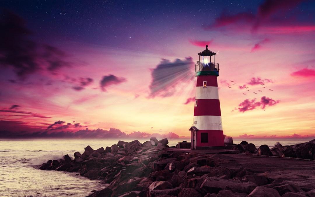 Retouche créative d'une photo d'un phare en fin de journée