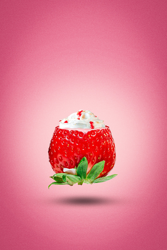 résultat du tutoriel de photomanipulation de la fraise