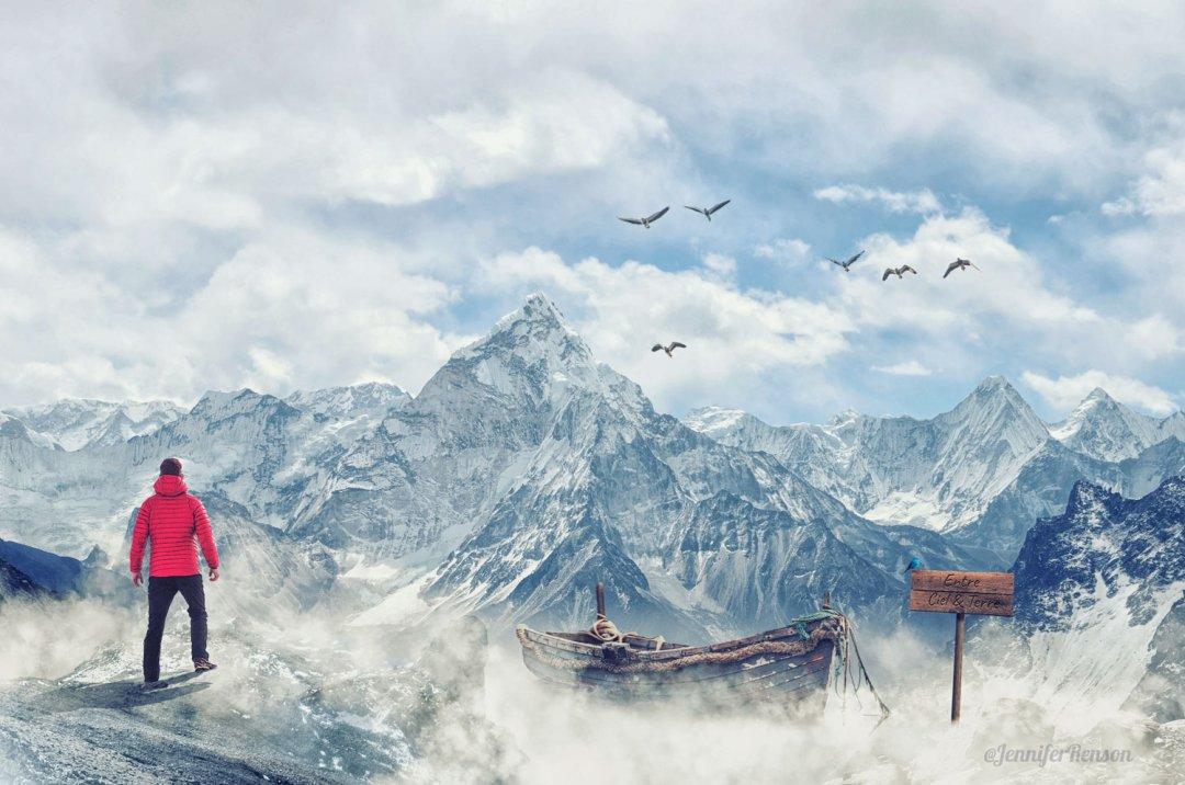 photomanipulation - matte painting entre ciel et terre