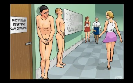 H is for humilation - cartoon where some people are naked in public