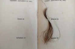 Photo of diary page with lock of hair