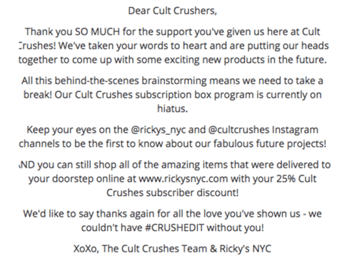 dear cult crushers message