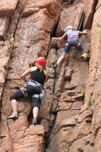 "Participants in Phoenix Multisport's ""Together Families Recover"" program during a climbing event at Bear Trap Ranch near Colorado Springs, Colorado. Photo: Phoenix Multisport"