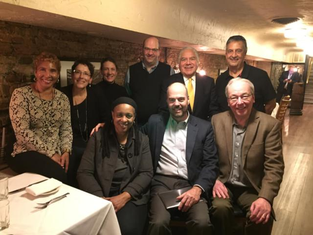 Former Chicago City Hall reporters (from left, back) Avis LaVelle, Michelle Damico, Molly Sullivan, Dan Parker, Manuel Galvan, Ray Hanania; front from left, Cheryl Corley, John Holden and Dave Roeder. Photo courtesy of Aaron Hanania