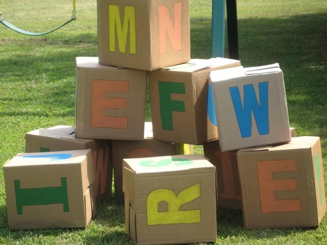 Alphabet theme birthday party for Alphabet letters cardboard