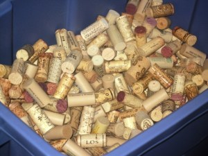 Container filled with hundreds of wine corks