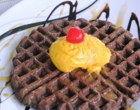 Chocolate Waffles with Mango Ice Cream