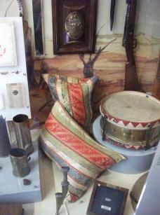 Ornate Turkish sandbags and drum taken at Gaza, WW1.