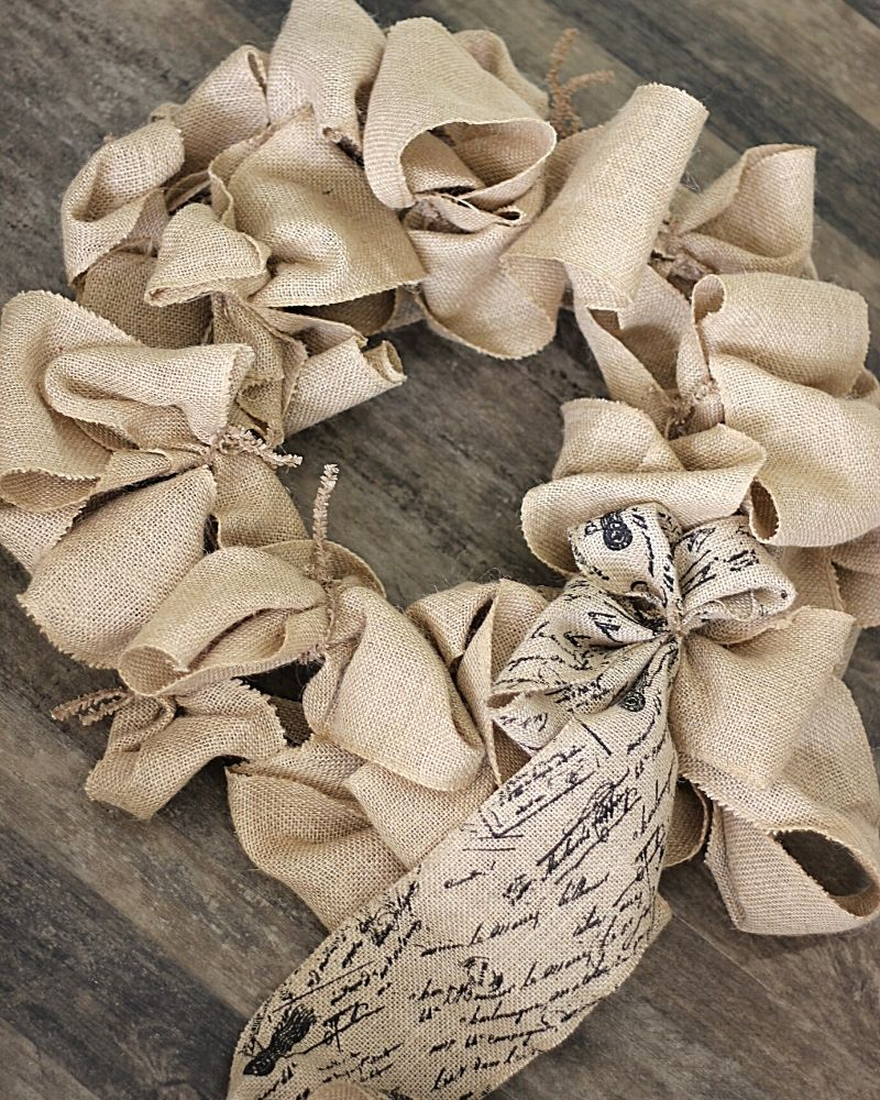 burlap around a wreath frame