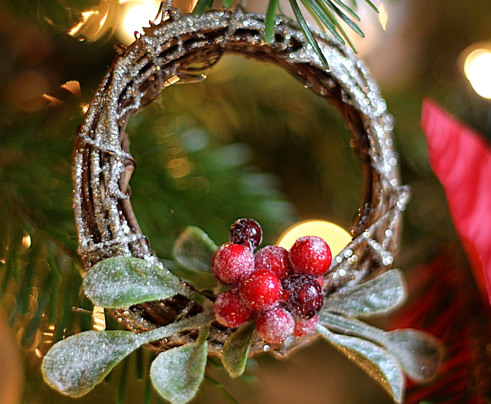 Mini wreath hangin on a tree