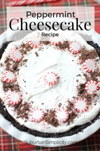 Peppermint Cheesecake Recipe with starlight mints and shaved chocolate decorating the top.