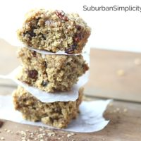 Fresh baked Cherry Oatmeal Bars stacked