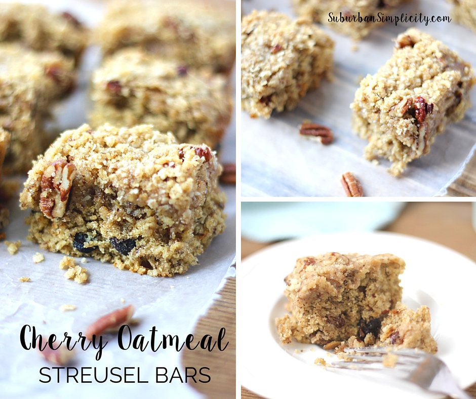 Baked Cherry Oatmeal Bars on a counter