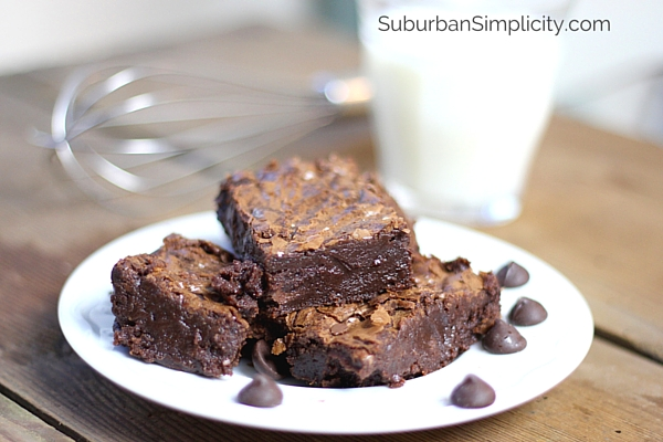 Chocolatey Dark Chocolate Fudge Brownies sitting on a plate with milk and a spatula in the background