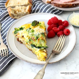 This easy and savory Ham and Cheese Frittata is a great breakfast, lunch, or dinner for kids and adults! It's low-carb, high in protein, and only takes 30 minutes to make!