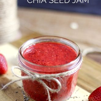 Learn how to make Strawberry Chia Seed Jam. It's easy, delicious and nutritious and only requires 4 ingredients! It's gluten free and contains no refined sugars.