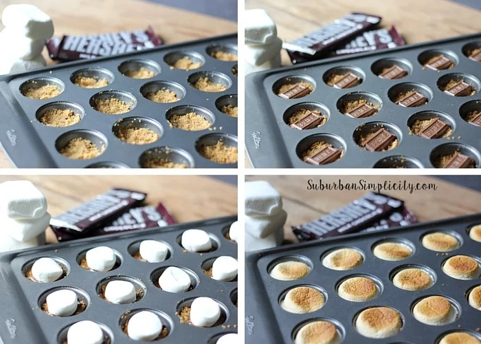 4 images showing the process for making S'more bites in a mini muffin pan.