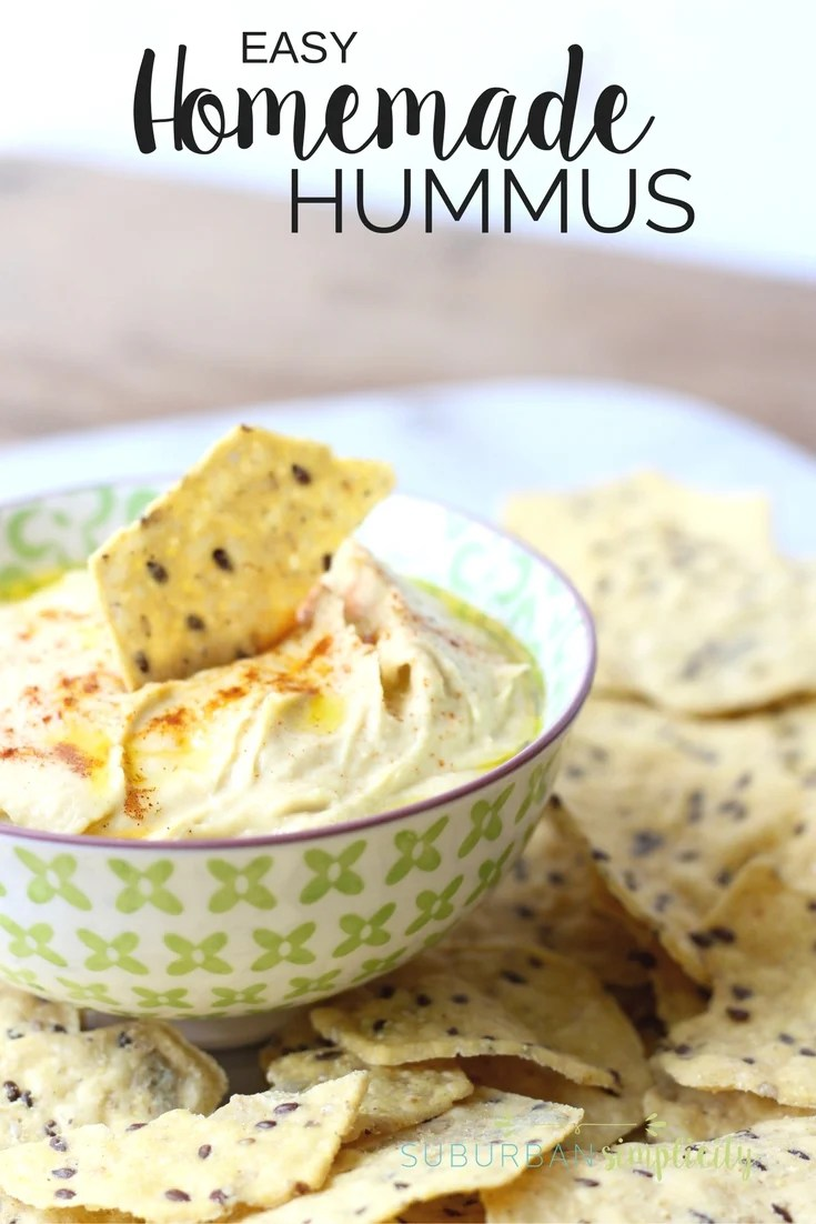 This 5-minute Homemade Hummus Recipe is even better than store bought! It's fresh, creamy and a healthy, gluten free snack idea that's good anytime!