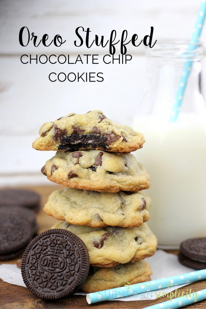 Love Oreos? Then you HAVE to try this Oreo Stuffed Chocolate Chip Cookies recipe. Homemade chocolate chip cookies with an Oreo cookie nestled inside! Yum!