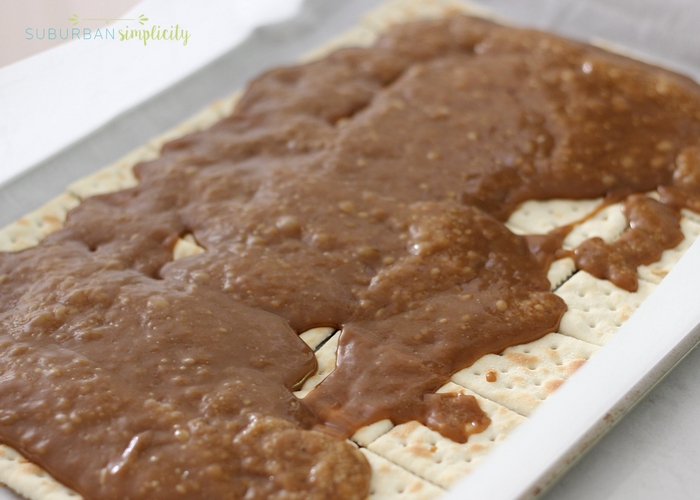 cracker toffee being made in a pan