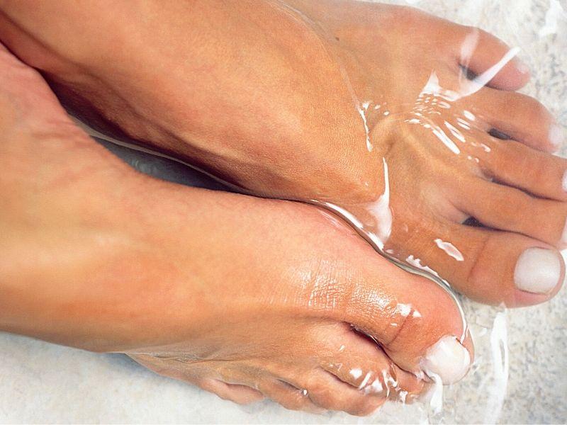 feet soaking in warm water