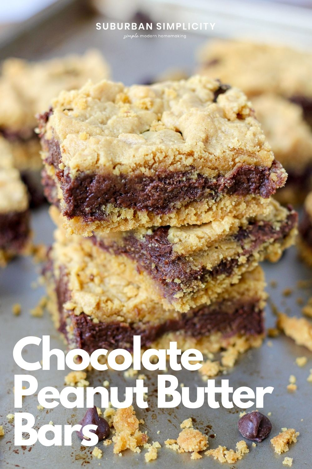 Peanut Butter Chocolate Bars makethe perfect dessert! These cake mix bars come together easilywith yellow cake mix, chocolate chips and peanut butter to make everyday baking easy and delicious.