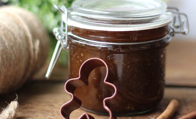 Gingerbread sugar scrub in a jar.